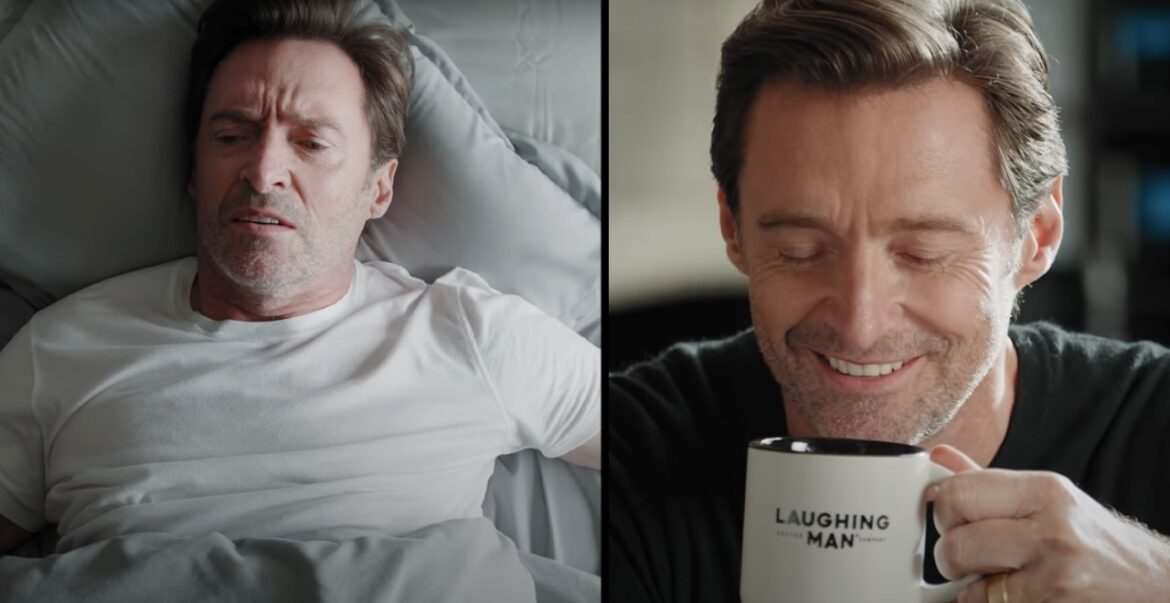 Hugh Jackman in Laughing Man Coffee Commercial w/ Ryan Reynolds Voicing