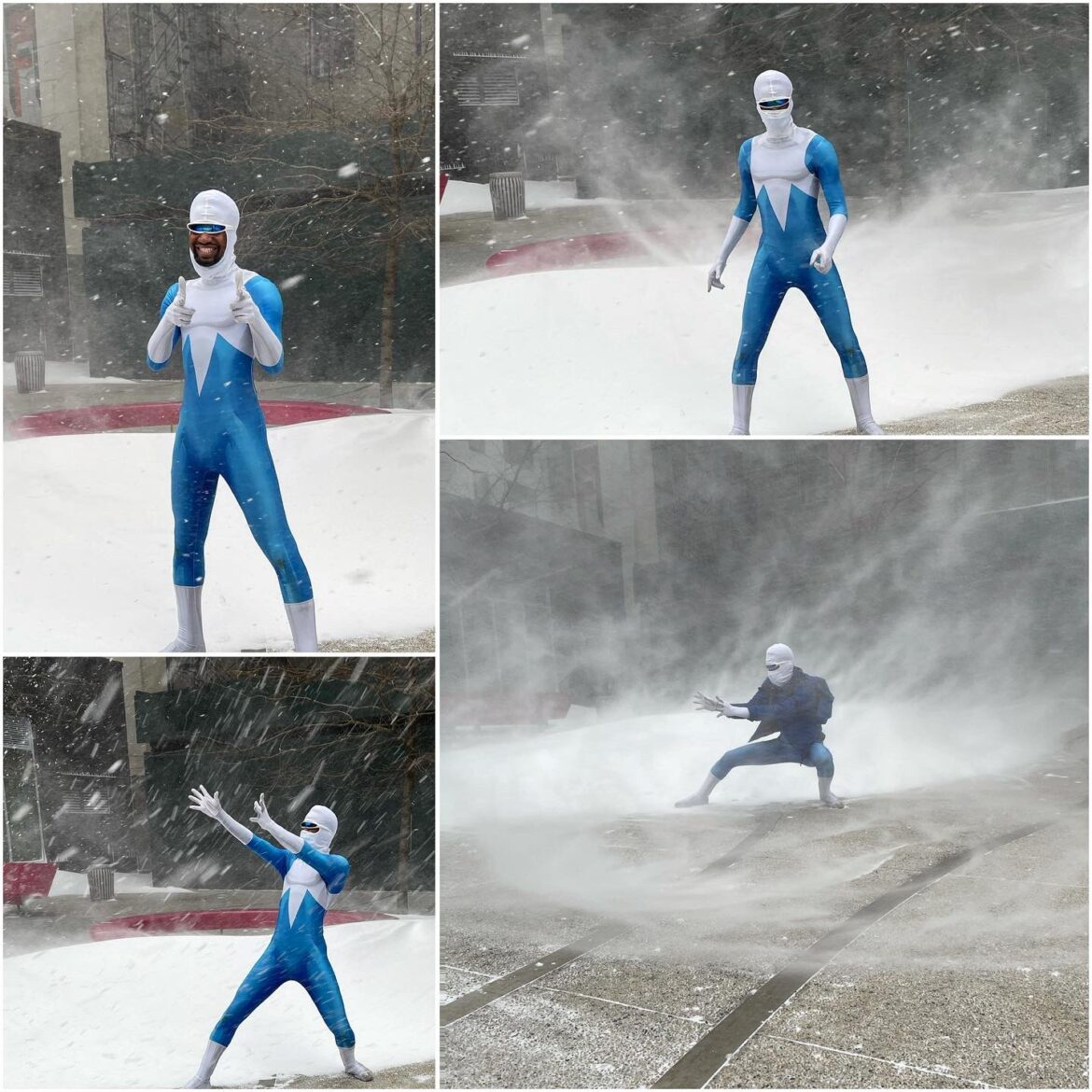 Frozone Cosplay During Snow storm